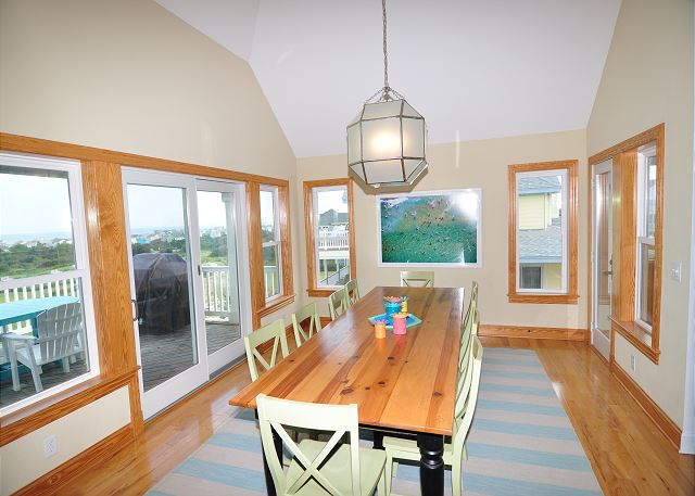 Dining Area Top Level of Sand Simeon, a 7 bedroom, 7.5 bathroom vacation rental in Corolla, NC
