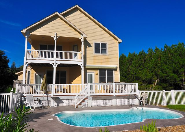A Tar Heel State of Mind Back View of A Tar Heel State of Mind, a 4 bedroom, 3.0 bathroom vacation rental in Corolla, NC