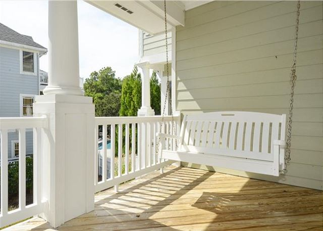 Porch Swing Mid Level of Thanks Dad, a 6 bedroom, 5.5 bathroom vacation rental in Corolla, NC