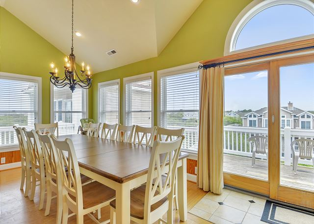 Dining Area Top Level  of Coastal Castle, a 8 bedroom, 7.0 bathroom vacation rental in Corolla, NC