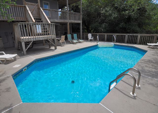 Pool Patio  of Sunset Strip, a 5 bedroom, 3.0 bathroom vacation rental in Corolla, NC
