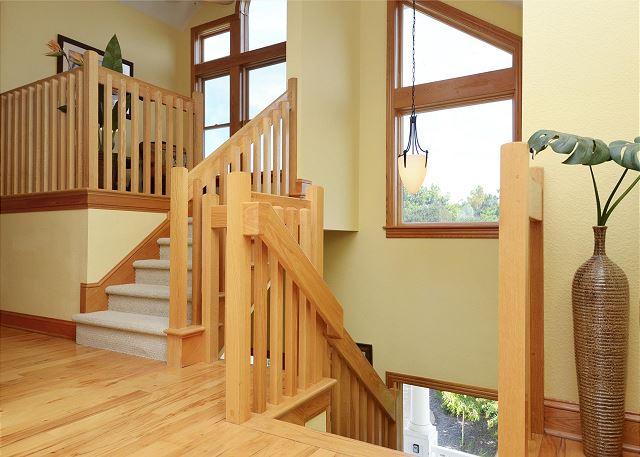 Stairs to Top Level of Thanks Dad, a 6 bedroom, 5.5 bathroom vacation rental in Corolla, NC
