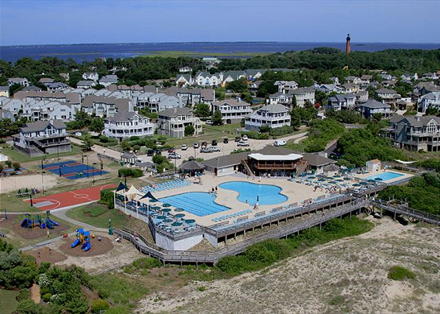 Corolla Light Oceanfront Pool Complex-Aerial View