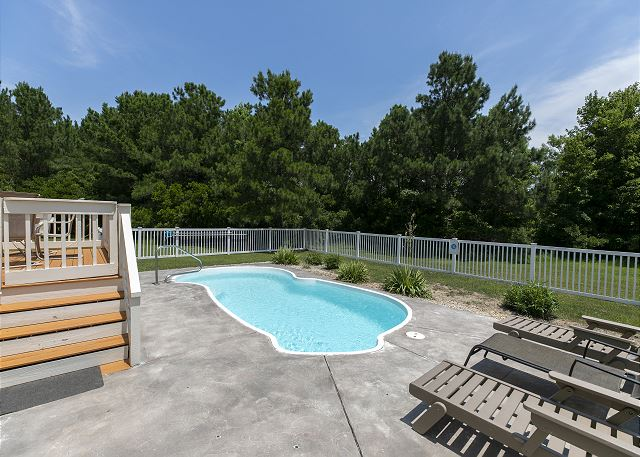 Pool Patio of A Tar Heel State of Mind, a 4 bedroom, 3.0 bathroom vacation rental in Corolla, NC