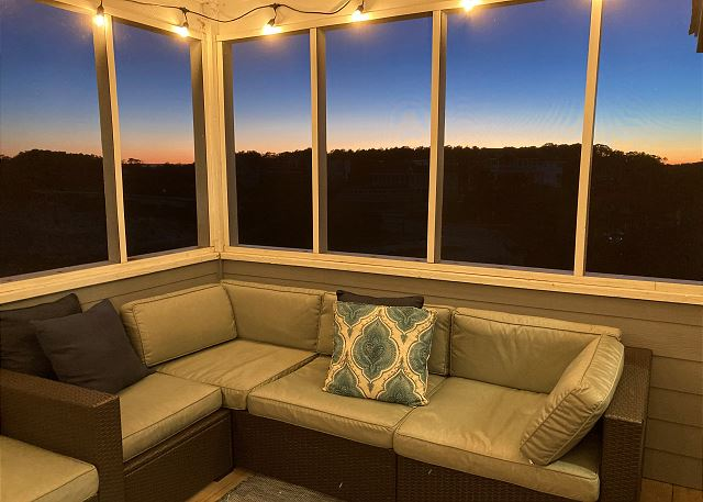 Screened Porch at Twilight - Top Level