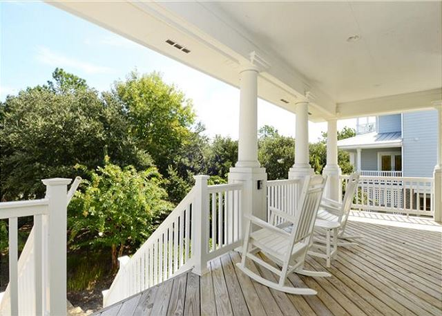 Front Porch Entry Mid Level of Thanks Dad, a 6 bedroom, 5.5 bathroom vacation rental in Corolla, NC