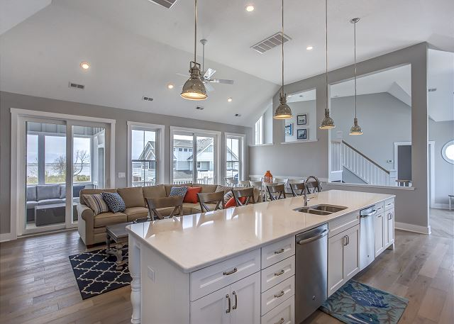 Kitchen Island Top Level of Summer Love, a 6 bedroom, 6.5 bathroom vacation rental in Corolla, NC