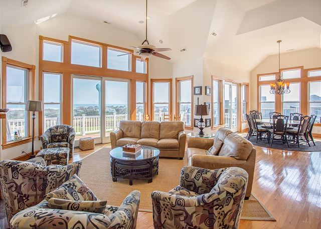 Great Room Top Level of Nittany Vista, a 7 bedroom, 7.5 bathroom vacation rental in Corolla, NC