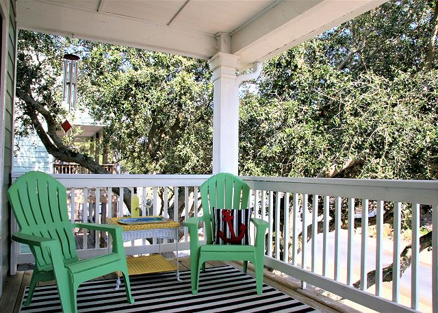 Porch just off Kitchen Top Level of Just Fore Fun, a 4 bedroom, 3.5 bathroom vacation rental in Corolla, NC