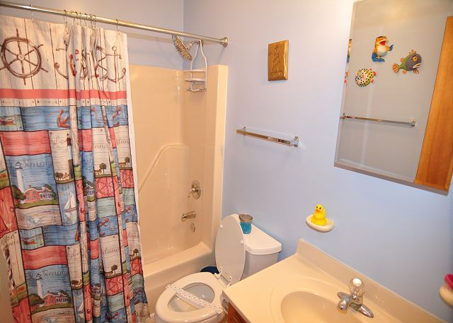 Shower/Tub Combo Bath Top Level of Kara's Sandcastle, a 4 bedroom, 2.0 bathroom vacation rental in Corolla, NC