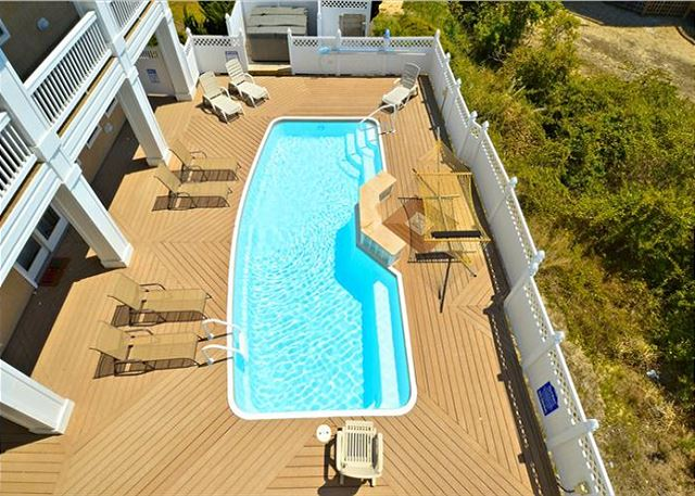 Pool Deck of Coastal Castle, a 8 bedroom, 7.0 bathroom vacation rental in Corolla, NC