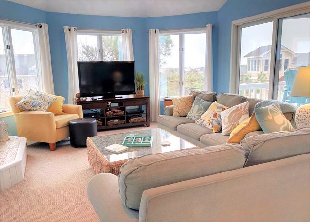 Living Room Top Level of Sandy Heels, a 4 bedroom, 3.5 bathroom vacation rental in Corolla, NC