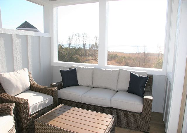 Screened Porch Top Level of Summer Love, a 6 bedroom, 6.5 bathroom vacation rental in Corolla, NC