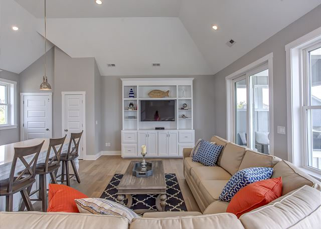 Great Room Top Level of Summer Love, a 6 bedroom, 6.5 bathroom vacation rental in Corolla, NC
