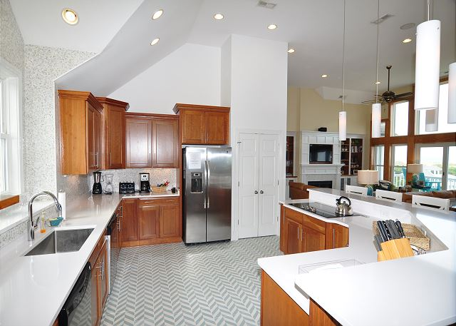 Kitchen Top Level of Sand Simeon, a 7 bedroom, 7.5 bathroom vacation rental in Corolla, NC