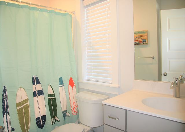 Double Bunk Bedroom Master Bathroom                 of Summer Love, a 6 bedroom, 6.5 bathroom vacation rental in Corolla, NC