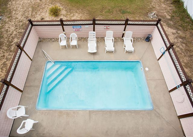 Pool Patio of Just Peachy, a 4 bedroom, 4.5 bathroom vacation rental in Kill Devil Hills, NC