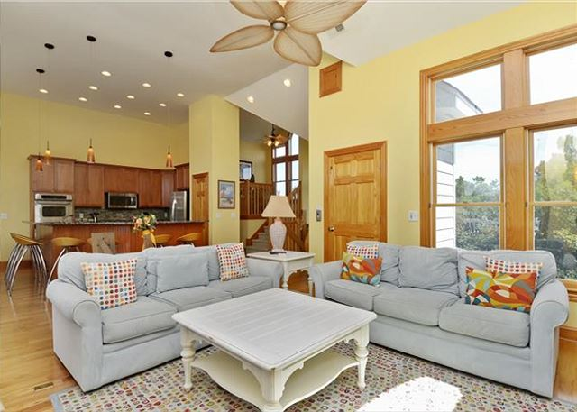 Living Area Top Level of Thanks Dad, a 6 bedroom, 5.5 bathroom vacation rental in Corolla, NC