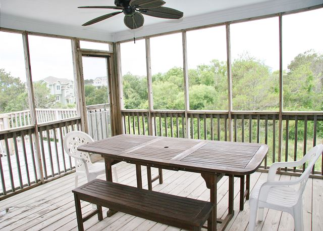 Screened In Porch Top Level of Far-mor Serenity, a 5 bedroom, 4.5 bathroom vacation rental in Corolla, NC