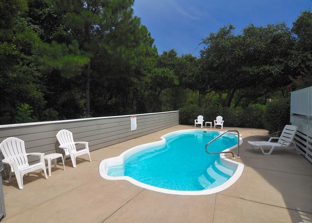 Pool Patio of At Water's Edge, a 4 bedroom, 3.5 bathroom vacation rental in Corolla, NC