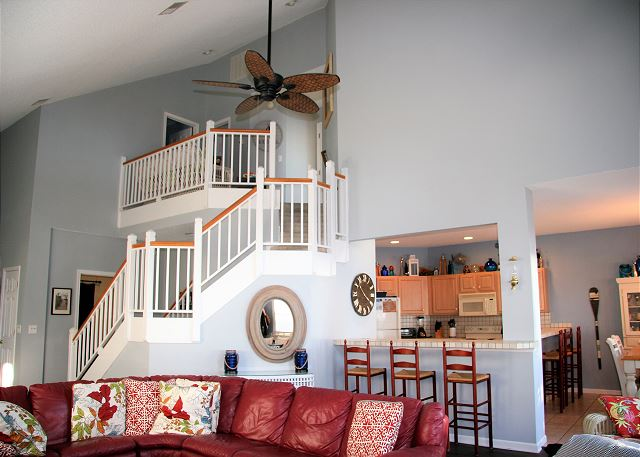Living Room Entry Level of Sugar Shack, a 4 bedroom, 3.0 bathroom vacation rental in Corolla, NC