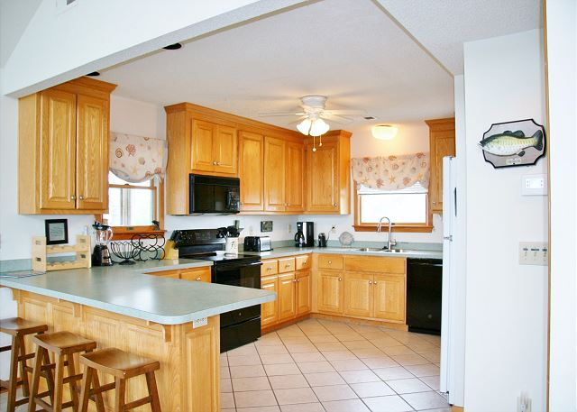 Kitchen Top Level  of Far-mor Serenity, a 5 bedroom, 4.5 bathroom vacation rental in Corolla, NC