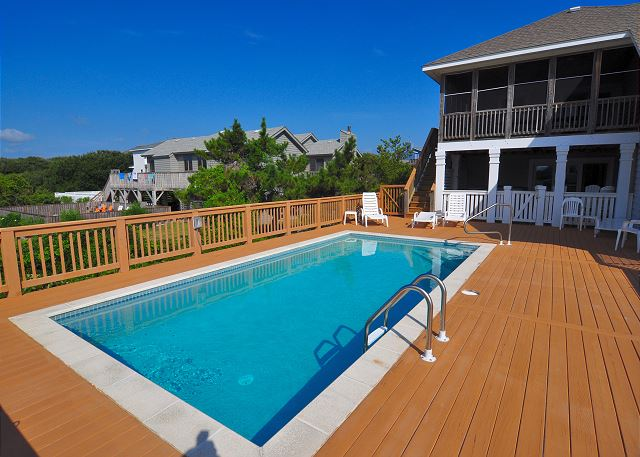 Pool patio Silver Creek is a 5 bedroom, 4.5 bathroom vacation rental in Southern Shores, NC
