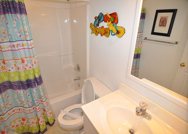 Hall Bathroom Entry Level of Sunset Strip, a 5 bedroom, 3.0 bathroom vacation rental in Corolla, NC