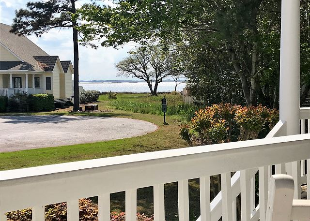Front Porch View of At Water's Edge, a 4 bedroom, 3.5 bathroom vacation rental in Corolla, NC