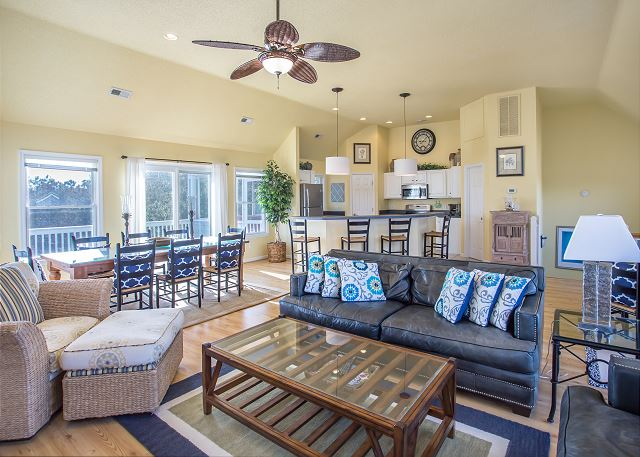 Great Room Top Level of Summerland, a 5 bedroom, 5.5 bathroom vacation rental in Corolla, NC