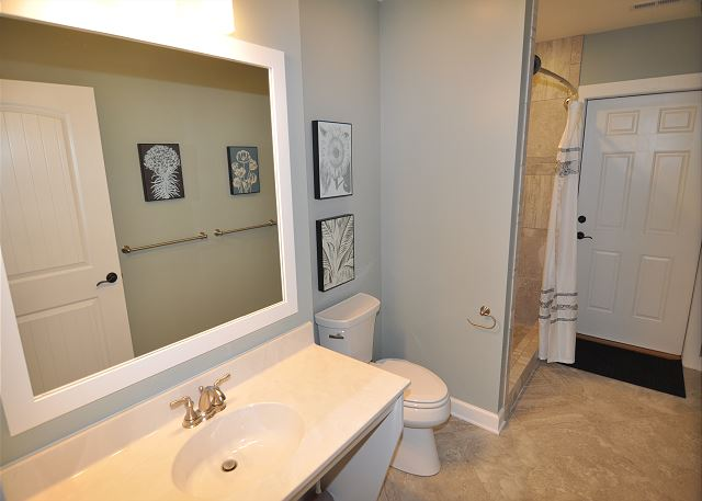 Full Bathroom Ground Level of Forever 409, a 6 bedroom, 5.5 bathroom vacation rental in Corolla, NC