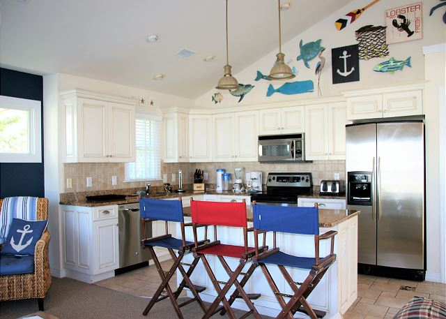 Kitchen Top Level of Par-Tee by the Sea, a 4 bedroom, 3.5 bathroom vacation rental in Corolla, NC