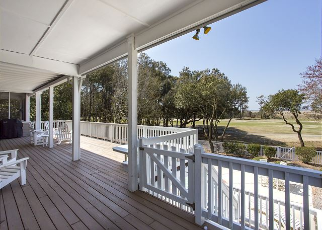 Back Porch of Ray's the Roof, a 5 bedroom, 5.5 bathroom vacation rental in Corolla, NC