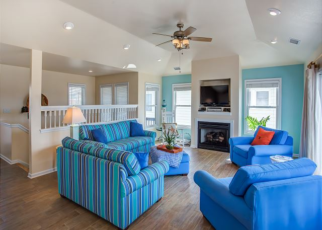 Great Room Top Level of Just Peachy, a 4 bedroom, 4.5 bathroom vacation rental in Kill Devil Hills, NC