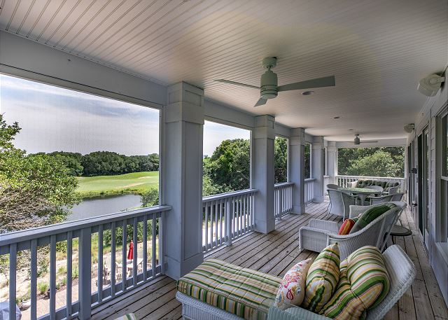 Screened Back Porch top level of Southern Breeze, a 5 bedroom, 4.5 bathroom vacation rental in Corolla, NC