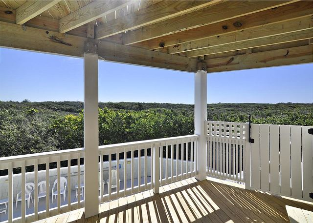Audubon Preserve and Pool View Mid Level Deck of Waterlily, a 5 bedroom, 5.5 bathroom vacation rental in Corolla, NC