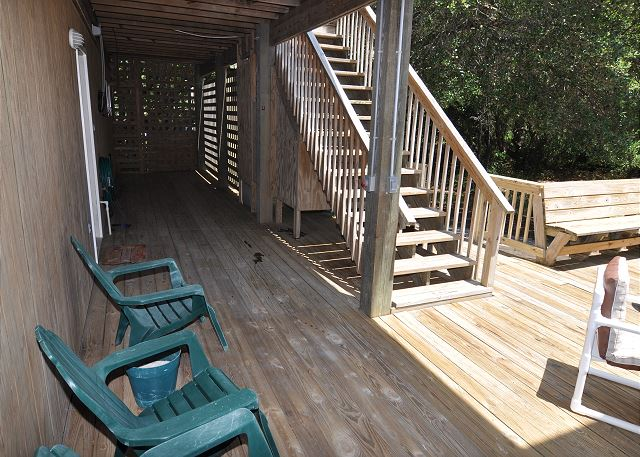 Back deck of Manhattan South, a 5 bedroom, 4.0 bathroom vacation rental in Southern Shores, NC