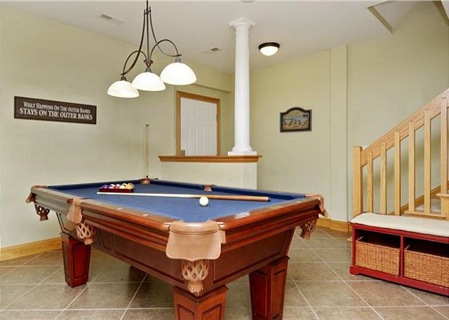 Game Room Ground Level Thanks Dad is a 6 bedroom, 5.5 bathroom vacation rental in Corolla, NC