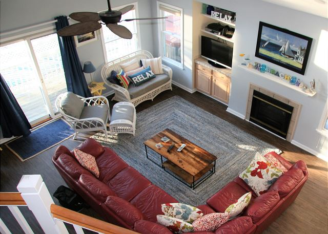 Living Room Entry Level Sugar Shack is a 4 bedroom, 3.0 bathroom vacation rental in Corolla, NC