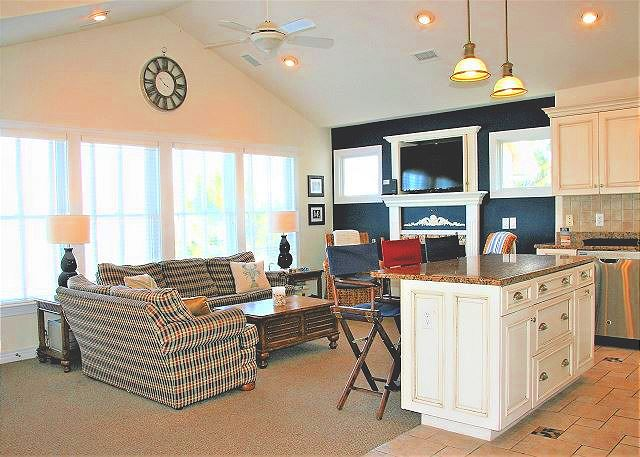 Great Room Top Level of Par-Tee by the Sea, a 4 bedroom, 3.5 bathroom vacation rental in Corolla, NC