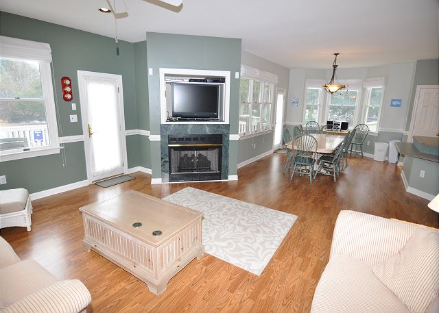 Living Room Entry Level of A Tar Heel State of Mind, a 4 bedroom, 3.0 bathroom vacation rental in Corolla, NC