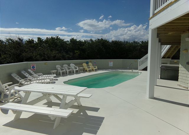Pool Deck of Waterlily, a 5 bedroom, 5.5 bathroom vacation rental in Corolla, NC
