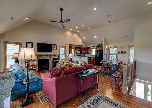 Great Room top level of Southern Breeze, a 5 bedroom, 4.5 bathroom vacation rental in Corolla, NC