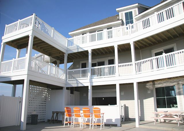 Back of the House of Summer Love, a 6 bedroom, 6.5 bathroom vacation rental in Corolla, NC