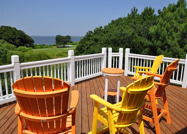 Sun deck Top Level of Tranquility Farms, a 7 bedroom, 5.5 bathroom vacation rental in Corolla, NC