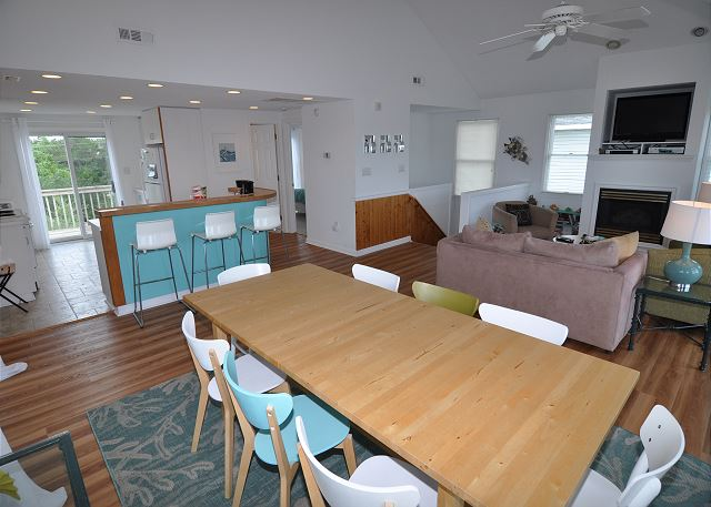 Dining Area Top Level Sunset Strip is a 5 bedroom, 3.0 bathroom vacation rental in Corolla, NC