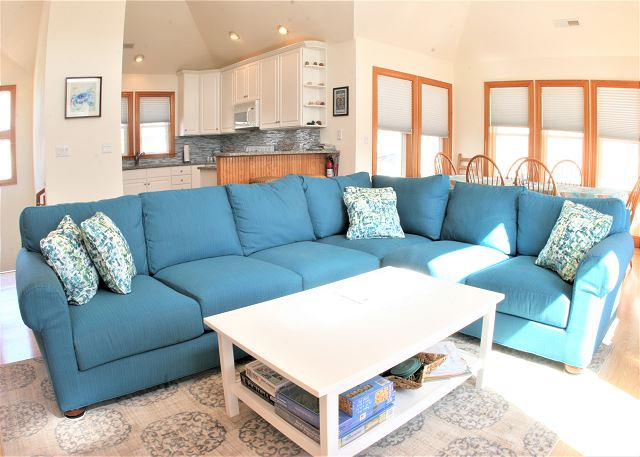 Great Room Top Level of OB Wave, a 5 bedroom, 3.5 bathroom vacation rental in Corolla, NC