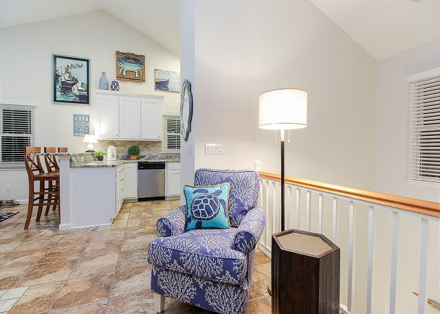 Living Area Top Level of Just Fore Fun, a 4 bedroom, 3.5 bathroom vacation rental in Corolla, NC