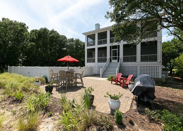 Backyard of Southern Breeze, a 5 bedroom, 4.5 bathroom vacation rental in Corolla, NC