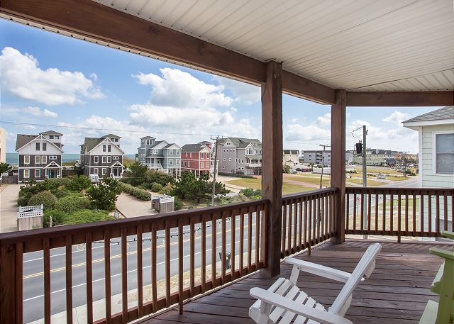 Covered Deck of Just Peachy, a 4 bedroom, 4.5 bathroom vacation rental in Kill Devil Hills, NC